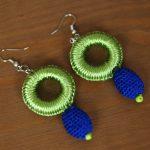 Silya – Boucles d'oreilles marocaines vertes en passementerie 2