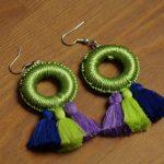 Silya – Boucles d'oreilles marocaines vertes en passementerie